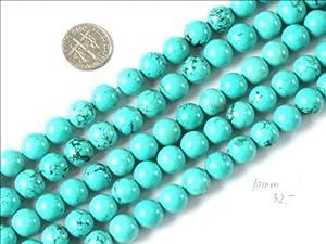 10mm Round Gemstone Natural Turquoise Beads Strand 15 Inch Jewelry Making Beads