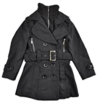 Yoki Toddler Girls Double-Breasted Long Faux Wool Pea Coat ((S) 2T, Black)
