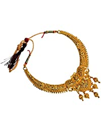 Mansiyaorange One Gram Gold Original Real Look Party Wedding Wear Golden Necklace Sets For Women