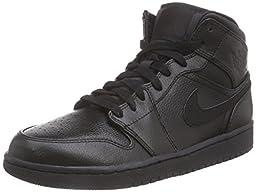 Nike Jordan Men\'s Air Jordan 1 Mid Black/Black/Black Basketball Shoe 11 Men US