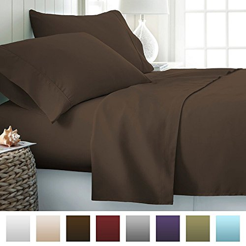 Splendid Collection 600 Thread Count Bedspread 100% Egyptian Cotton Queen Bed Sheet Set Sateen Deep Pocket Premium Quality 4-Piece Bedding Set Solid Chocolate (Egyptian Cotton Sheet Set compare prices)