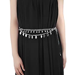 Women Silver Leaf Fashion Clothing Waistband Dress Waist Chain Belt