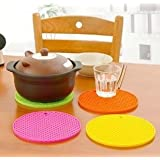 12Pcs Colorful & Flexible Heat-Resistant Round Shaped Silicone Table Coaster Mat Set - Random Colors As Per Availability