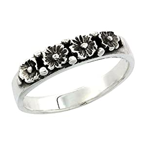 Sterling Silver Flower Wedding Band Ring 1/8 inch wide, size 6