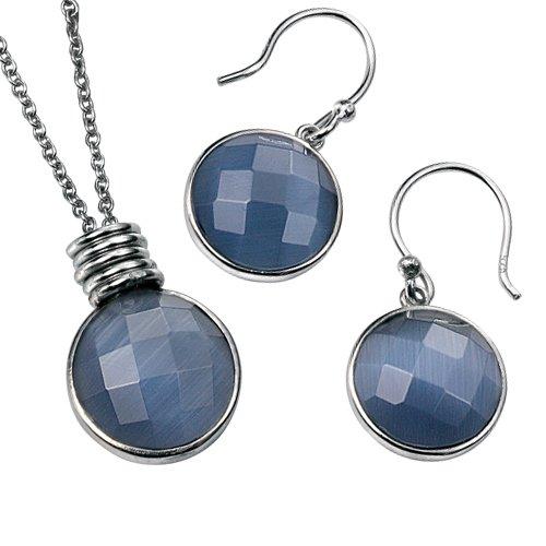 Elina H Silver Blue Catseye Jewellery Set