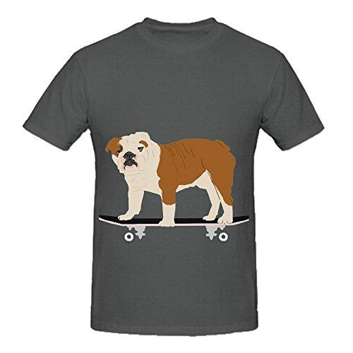 English Bulldog Skateboard Funny Dog Men O Neck Cool Tee Shirts Grey