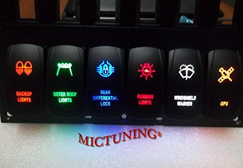 Mictuning laser led light bar rocker switch on off led light 20a mictuning laser led light bar rocker switch on aloadofball Images
