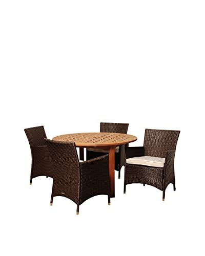 Amazonia Utah 5-Piece Eucalyptus Wicker Round Dining Set with Off-White Cushions, Brown