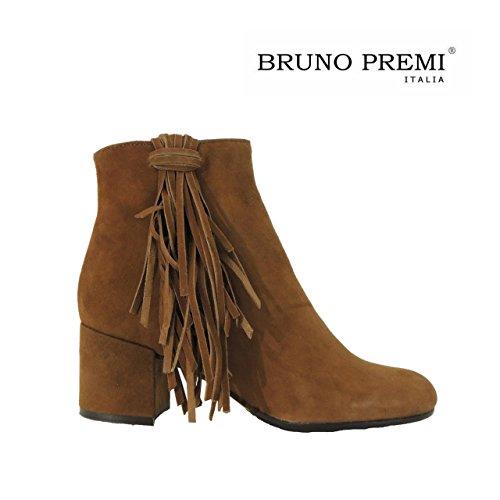 Bruno Premi I2804P stivaletti donna tacco camoscio frange made in Italy (39, MARRONE)