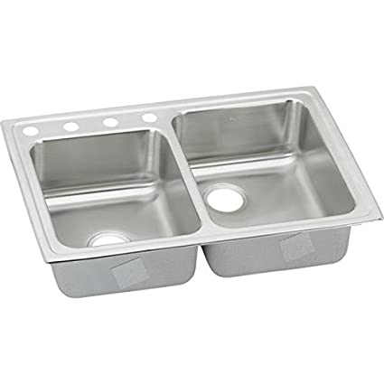 "Elkay LR250LS2 18 Gauge Stainless Steel 33"" x 22"" x 7.875"" Double Bowl Top Mount Kitchen Sink"