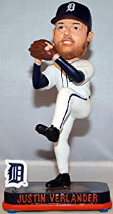 Detroit Tigers Justin Verlander Forever Collectibles Springy Logo Bobble by Forever Collectibles