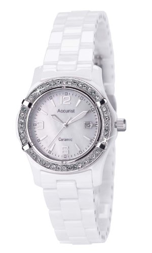Ladies/Women's White Ceramic Accurist Quartz/Battery Watch on Bracelet with Mother of Pearl Dial & Date LB1651W