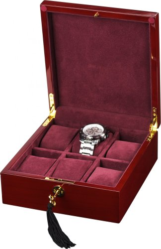 Auer Accessories Bateia 036C Watch Box For 6 Watches Cherry