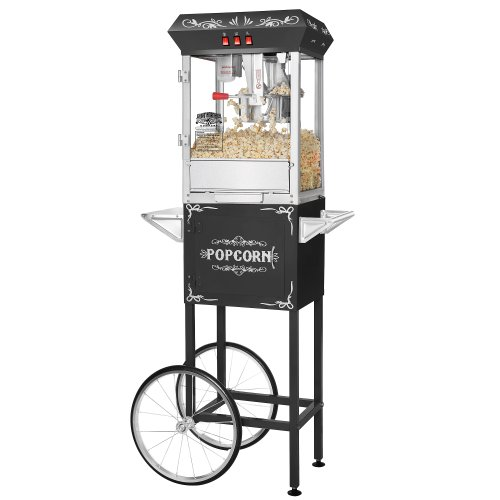 Great Northern Popcorn Black 8 oz. Ounce Foundation Vintage Style Popcorn Machine and Cart Old Antique Carnival Glass