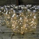 Quart Mason Jars With Warm White Fairy Lights - Set Of 12