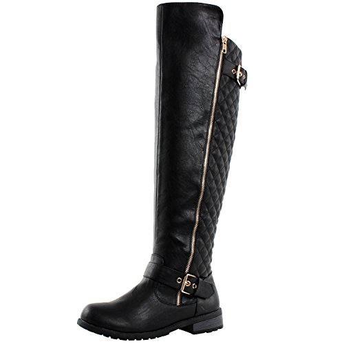 West Blvd Detroit Quilted Riding Boots, Black Pu, 6.5