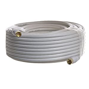 PTC Premium GOLD Series 100 ft WHITE RG6 F Type HIGH GRADE QUAD SHIELD Coaxial 18AWG CL2 Rated 75Ohm Cable - WHITE color
