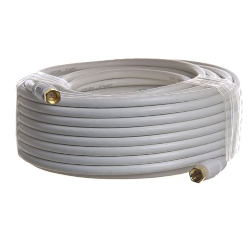 Pro-Techgroup 100 ft Premium Grade RG6 F-Type Quad Shielded Coaxial 18AWG CL2 Rated 75 Ohm White Cable for Antennas, Cable and Satellite TV