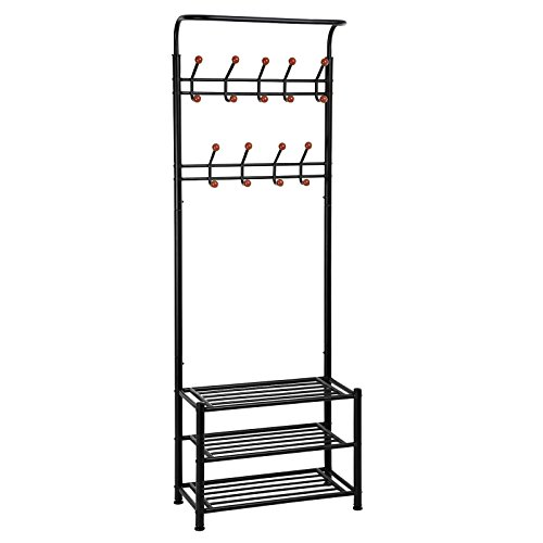 SONGMICS Entryway Coat Rack with Storage Shoe Bench Hallway Organizer 18 Hooks and 3-Tier Shelves Metal Black URCR67B