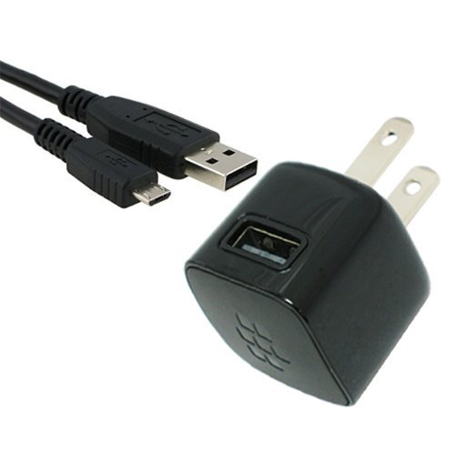 Blackberry USB AC Charger Adapter Power Plug with Micro USB Cable for Blackberry Torch 9800 Bold 9700 Style 9670 Bold 9650 Tour 9630 Storm2 9550 9520 Storm 9500 9530