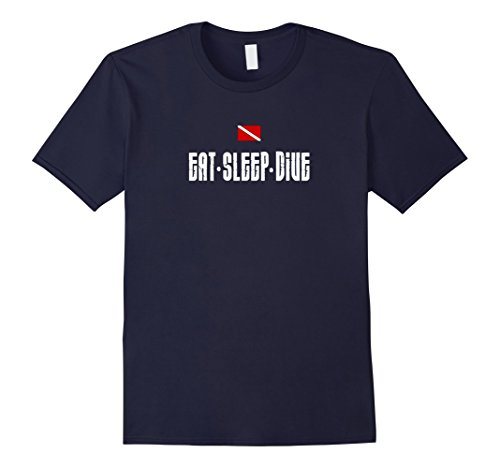 Men's Eat Sleep Dive Scuba Diver Flag Equipment Humor T-shirt Small Navy (Shark Tank Sleep Mask compare prices)