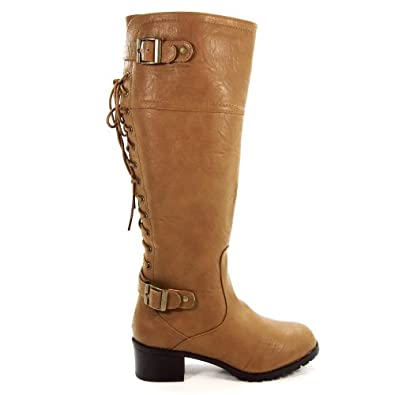 Lace up back buckle accents women s riding boot new shoes boots for