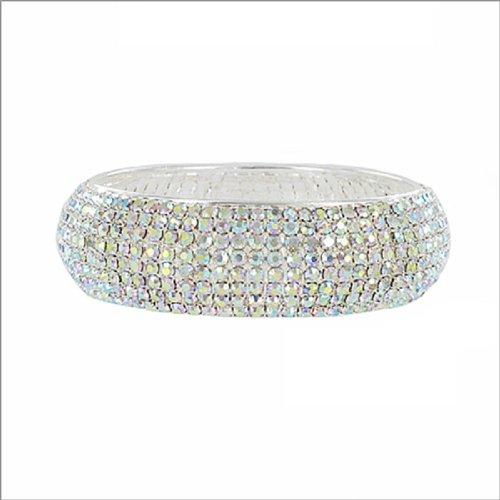 Eight Line Rhinestone Bangle Bracelet #038904