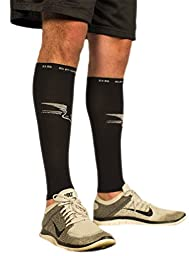 Graduated Calf Compression Guard Sleeve by DS Sports PureSport True Compression Gear (1 Pair) Men & Women. Ease Shin Splints. Boost Circulation Accelerate Recovery. Money Back Guaranteed