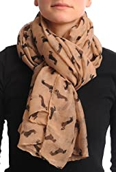 Khaki With Brown Dogs Unisex Scarf & Beach Sarong - Brown Designer Scarf