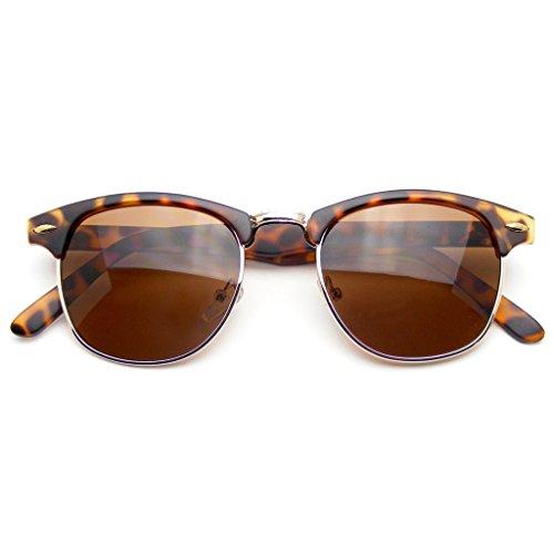 Emblem Eyewear - Premium Half Frame Horn Rimmed Sunglasses Metal Rivets (Tortoise, 49) (Half Rimmed Sunglasses For Women compare prices)