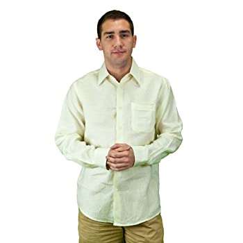 Ivory linen shirt for weddings, mens.