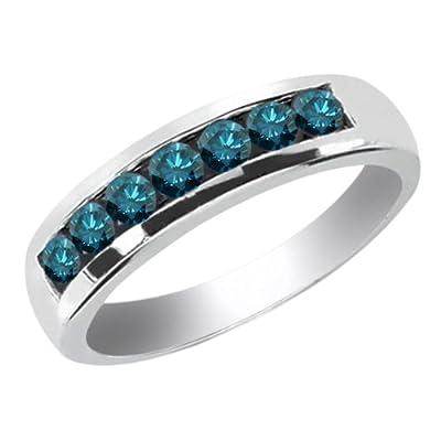 0.84 Ct Round Blue SI1/SI2 Diamond 18K White Gold Men's Wedding Band Ring