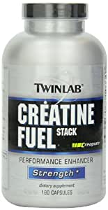 TwinLab Creatine Fuel Stack Performance Enhancer, Strength, Capsules, 180-Count Bottle 2-pack