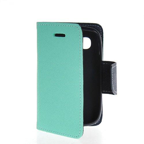 MOONCASE Leder Tasche Flip Case Cover Schutzhülle Etui Hülle Schale Für Samsung Galaxy Pocket Neo S5310 L Blau