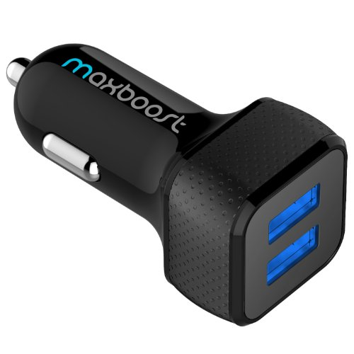 Maxboost 4.4A/22W Dual-Port USB Car Charger-[Black/Black]Portable Rapid External Battery Pack Charger for Samsung Galaxy S5/S5 Prime; The All New HTC One M8/ACE M7 M4,Mini 2;iPhone 5S 5 5C 4S 6,iPad Air 4 3 2,iPad Mini 1 2 Retina,iPod Touch Nano;Samsung Z,Galaxy S4/Active S3, Note 4 3,Tab S 4 3 7.0 8.0 8.4 10.1 10.5;Amazon Fire Phone;LG Optimus G3 G2,G Flex,G Pro 2,G Pad;Google Nexus 5 4 7 8 FHD 2;Motorola;Sony Xperia Z2;Other Android Phone/Tablets(a.k.a Backup Extended Cable Power Case Charger)