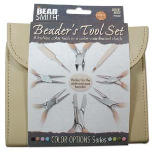 Beadsmith 8 Piece Jewelry Making Plier Set - Beige Color Coordinated Carrying Case