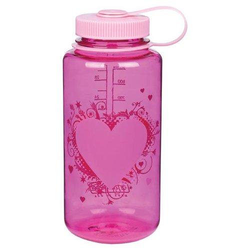 Nalgene Wide Mouth Water Bottle, 1-Quart, Pink Heart front-568054