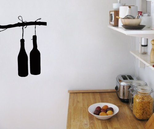 Wall Vinyl Decal Sticker Art Design Two Wine Bottle On Branch Cafe Kitchen Room Nice Picture Decor Hall Wall Chu1110