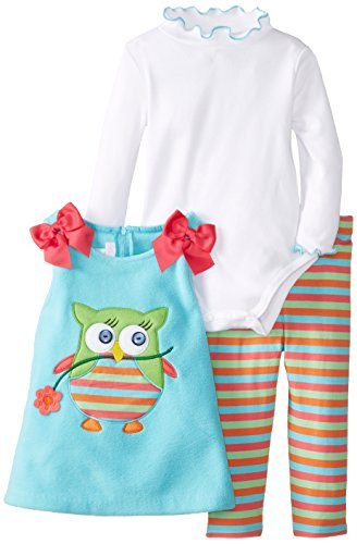 Bonnie Baby-Girls Infant Aqua Owl Appliqued Fleece Legging Set, Aqua, 12 Months front-955087