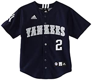 MLB Youth New York Yankees Derek Jeter Team Color Applique Baseball Jersey (Dark Navy, Small)