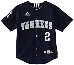MLB Youth New York Yankees Derek Jeter Team Color Applique Baseball Jersey (Dark Navy, Small)