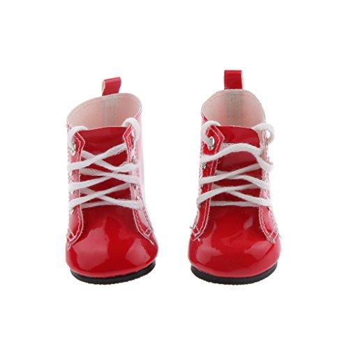 Mini Martin Bottes Chaussures PU pour Poupées de 18 Pouces Filles Américaines - Rouge, /