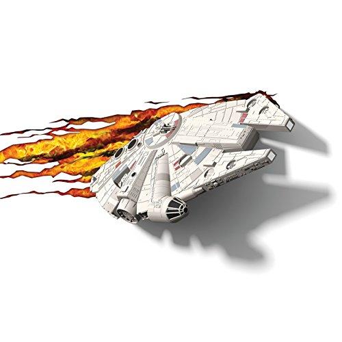 3d Deco Light Fx Lampada da Parete Disney Star Wars with Crack Sticker con Adesivi Millennium Falcon