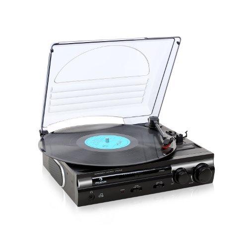 Auna mg 182tt tourne disque platine vinyle usb avec - Tourne disque avec haut parleur integre ...