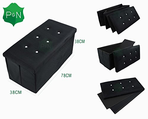 large-black-suede-ottoman-diamante-pouffe-stool-folding-storage-box-collapsible-by-pn-homewares