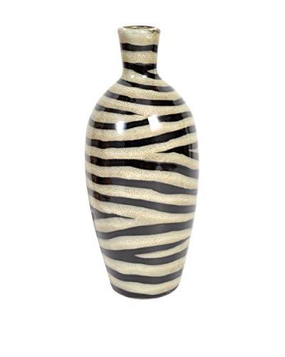 Bombay Company 12 Ceramic Zebra Print Vase, Tan