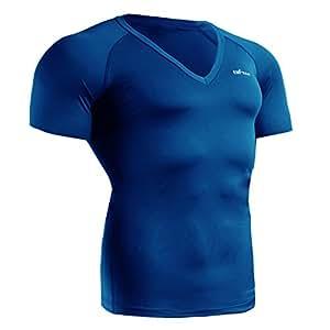 emFraa Homme Femme Sport Compression Blue V Neck Base layer Shirt Shortsleeve S