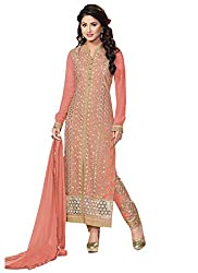 Adorn Fashion Heena Khan Peach Georgette Pant Style Long Salwar Suit Material