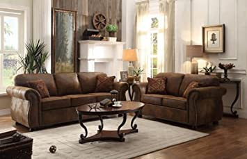 Homelegance Corvallis Sofa With 2 Pillows In Brown Bomber Jacket Microfiber