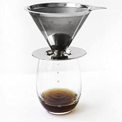 Pour Over Coffee Filter Dripper -- The Stainless Steel Designed Cone Drip Brewer Has A Double Mesh Metal Filter. It's The Perfect Single Serve Coffee Maker That's Also Camping & Travel Size! made by Clara's Coffee